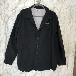 Columbia 2X mens black button up activewear pocket